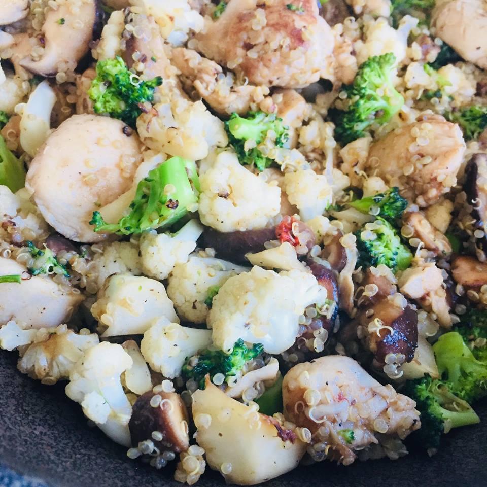 quinoa broccoli mushroom chicken